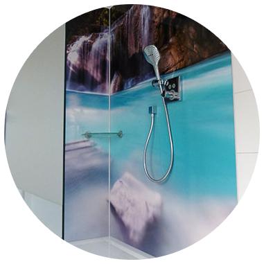 duschwand gestalten, duschwand Wasserfall